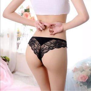 Sexy Black Lace Thong with Stylish Cutout Detail